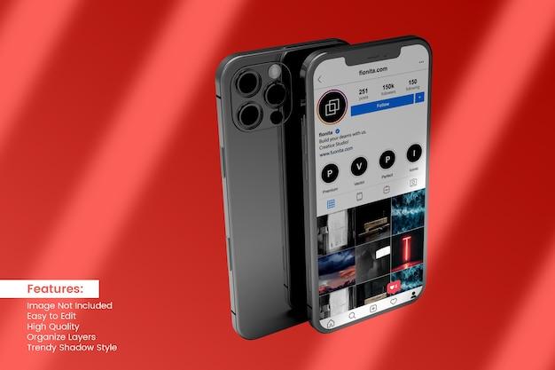 Edytowalny projekt makiety smartfona 3d dla postów w mediach społecznościowych
