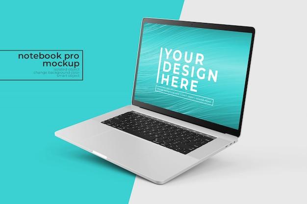 Edytowalny przenośny laptop premium pro psd mock ups design s we właściwej pozycji pochylonej w prawym widoku