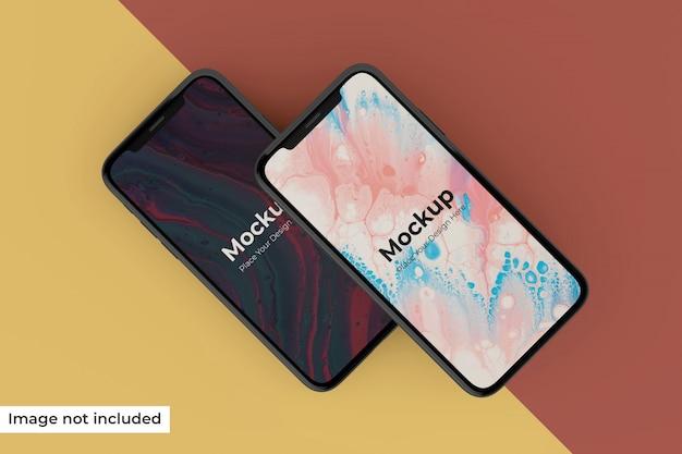 Edytowalny realistyczny ekran mobilny pochylony w lewo w widoku z góry