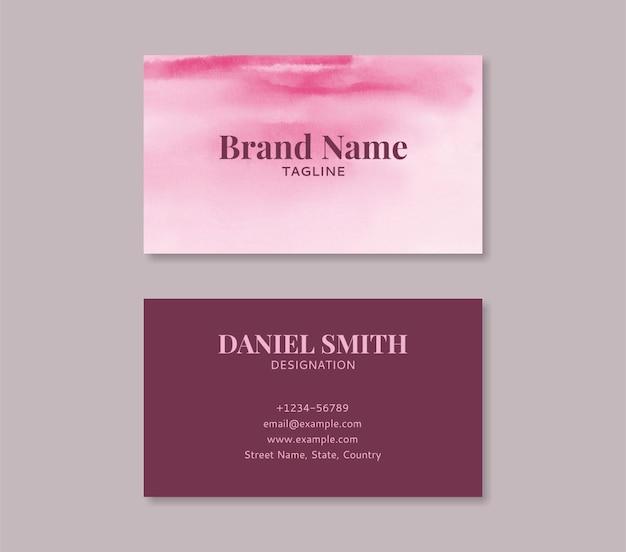Edytowalny różowy szablon wizytówki akwarela z projektem przodu i tyłu