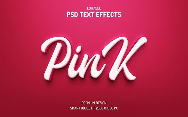 Edytowalny styl efektu tekstu 3d w kolorze słodkim różowym
