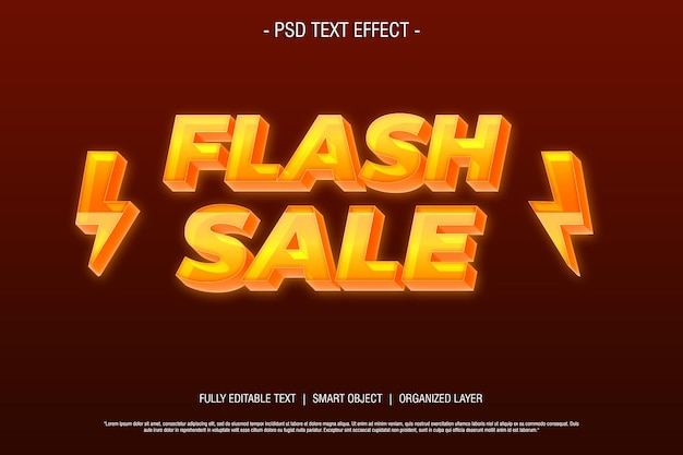 Edytowalny styl tekstu sprzedaży flash 3d