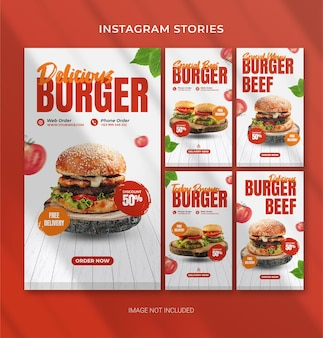 Edytowalny szablon burger fast food do opowiadań na instagramie
