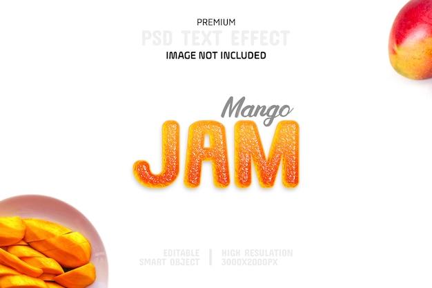 Edytowalny szablon efektu tekstu dojrzałego dżemu mango