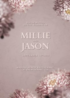 Edytowalny szablon karty psd kwiatowy zaproszenie na ślub