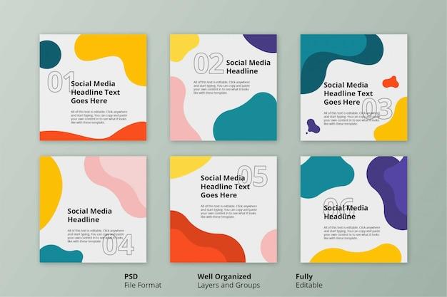 Edytowalny szablon kolorowy prosty płaski płyn społeczny instagram post banner