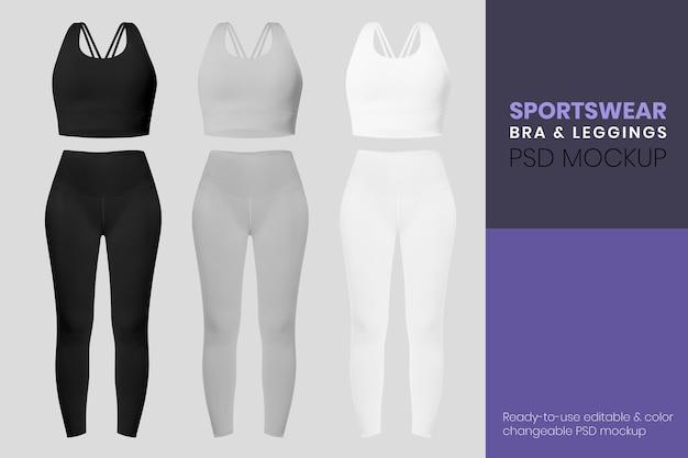 Edytowalny szablon makiety psd odzieży sportowej dla reklamy odzieży damskiej