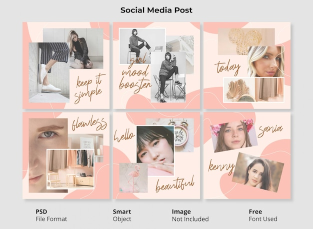 Edytowalny szablon modelu portret społeczny post transparent minimalistyczny design prosty i kolorowy abstrakcyjny kształt o płynnym i płynnym kształcie