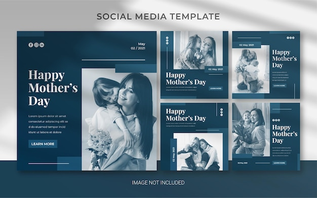 Edytowalny szablon na dzień matki dla posta na instagramie w mediach społecznościowych