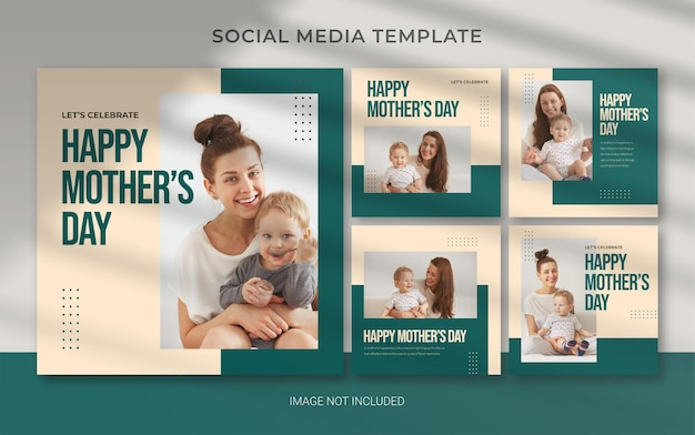 Edytowalny szablon na dzień matki na baner postu na instagramie w mediach społecznościowych