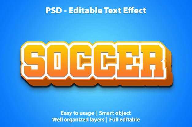 Edytowalny szablon piłki nożnej z efektem tekstu
