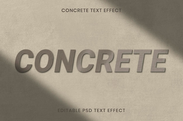 Edytowalny szablon psd z efektem tekstu tekstury betonu