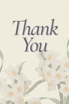 Edytowalny szablon wiosenny psd z tekstem podziękowania