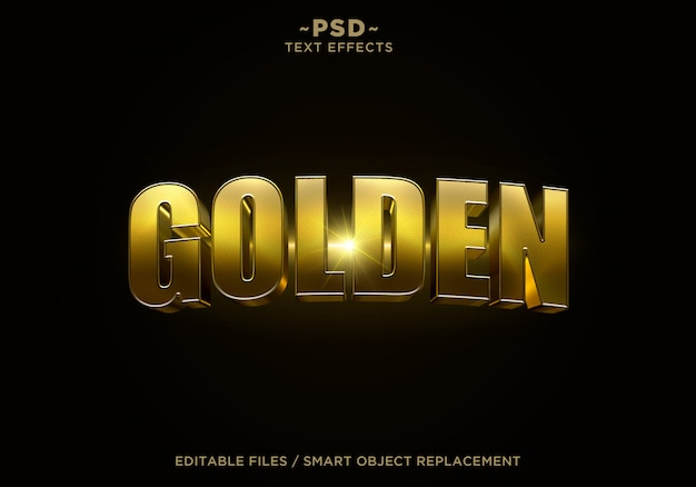 Edytowalny tekst 3d golden cinematic effect