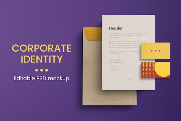 Edytowalny zestaw psd tożsamości korporacyjnej dla przedsiębiorstw biznesowych