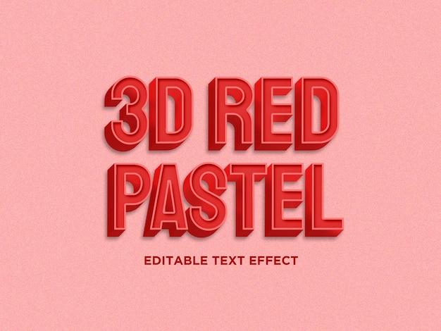 Efekt 3d czerwony pastelowy kolor tekst premium psd
