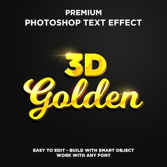 Efekt 3d golden premium text