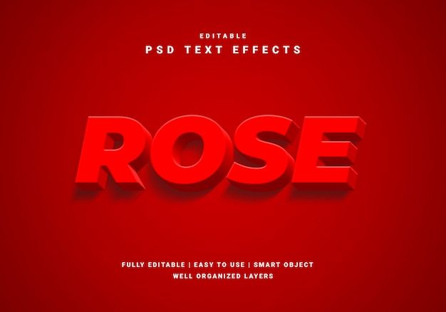 Efekt 3d róży czerwony tekst