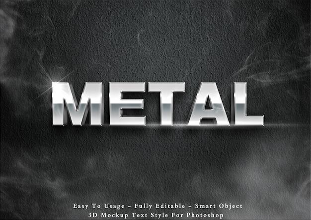 Efekt 3d stylu tekstu metalu