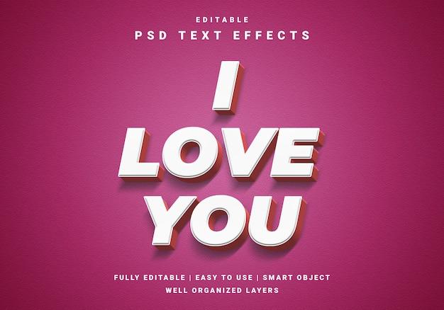 Efekt 3d Valentine Tekstu Premium Psd
