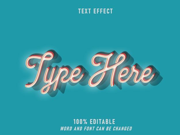 Efekt błyskawicy neonowej styl retro edytowalny styl vintage