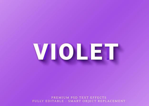 Efekt czystego fioletowego stylu tekstu 3d