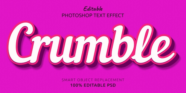 Efekt edytowalnego stylu tekstu crumble