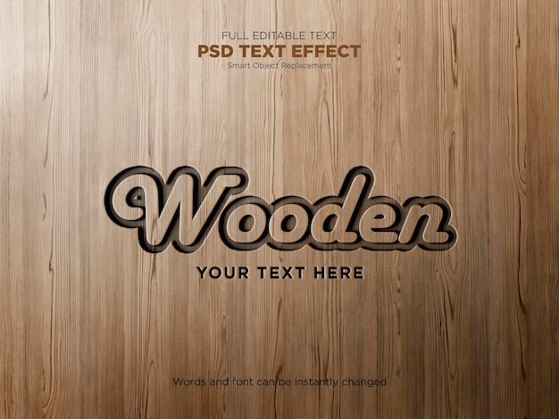 Efekt grawerowanego tekstu na drewnie