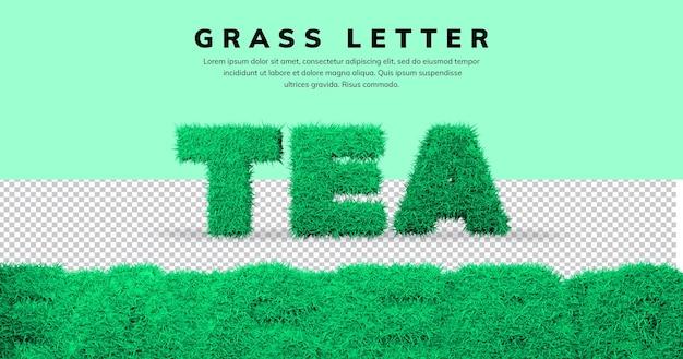 Efekt litery herbaty z szablonem trawy