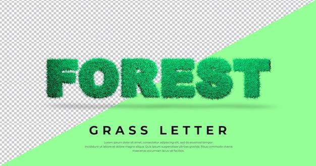 Efekt litery lasu z szablonem trawy