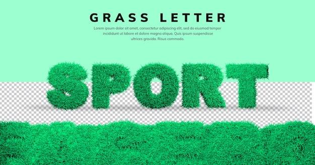 Efekt litery sportu z szablonem trawy