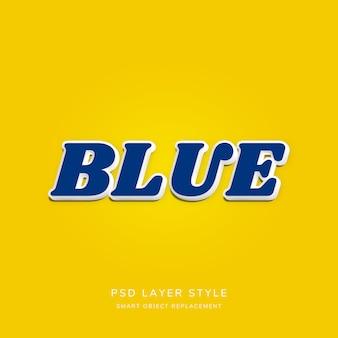 Efekt niebieskiego stylu tekstu 3d