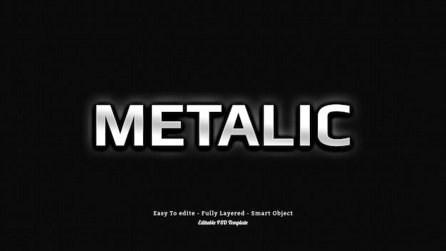 Efekt srebrnego metalicznego tekstu