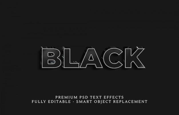 Efekt stylu czarnego tekstu psd, efekty tekstowe premium psd