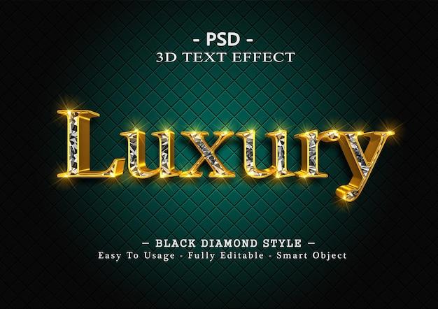 Efekt stylu tekstu 3d czarnego diamentu
