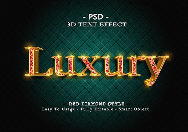 Efekt stylu tekstu 3d czerwonego diamentu