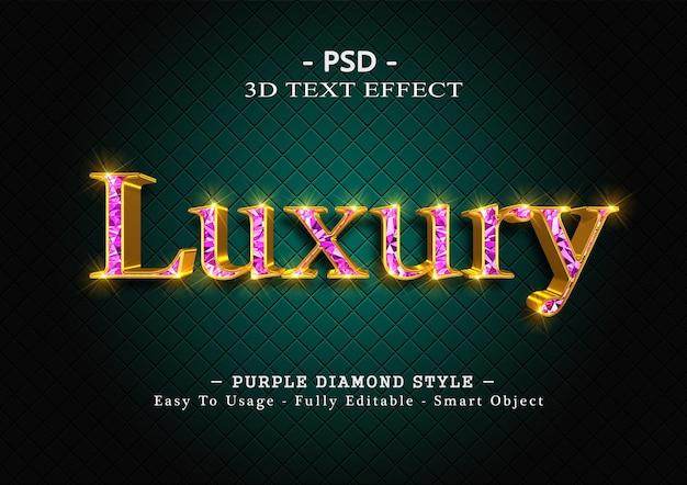 Efekt stylu tekstu 3d fioletowy diament