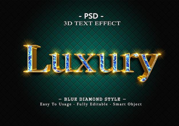 Efekt stylu tekstu 3d niebieskiego diamentu
