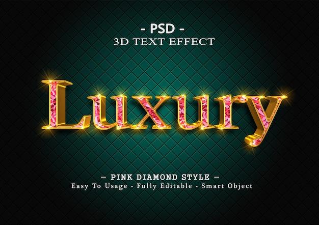 Efekt stylu tekstu 3d różowego diamentu