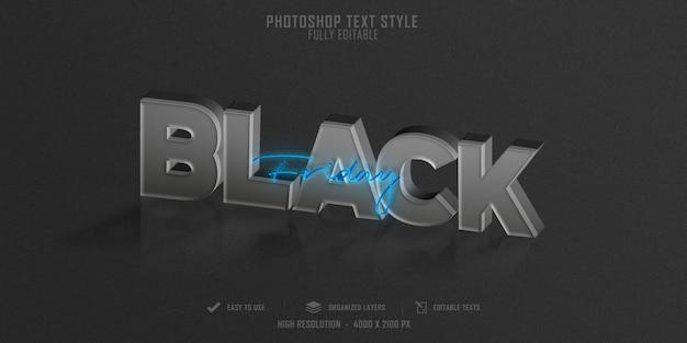Efekt stylu tekstu 3d w czarny piątek