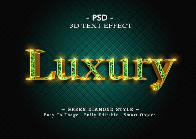 Efekt stylu tekstu 3d zielonego diamentu