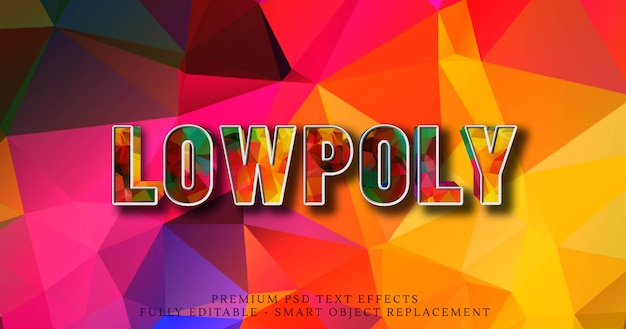 Efekt stylu tekstu low poly 3d psd