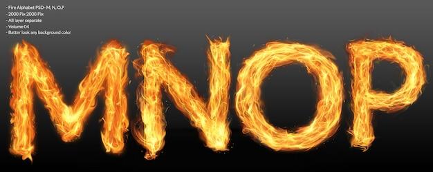 Efekt tekstowy alfabetu ognia