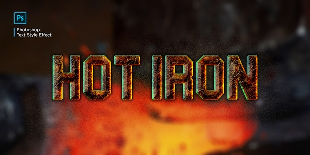 Efekt tekstowy gorącego żelaza