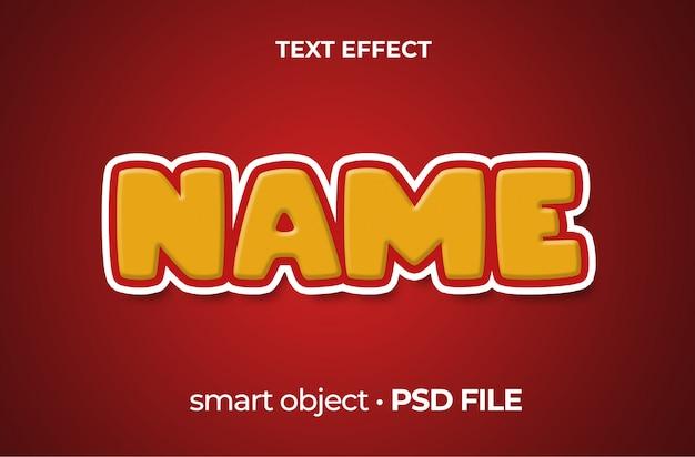 Efekt tekstowy kreskówka żółty i czerwony