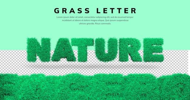 Efekt tekstowy natury z projektem litery 3d trawy