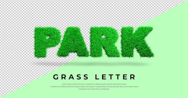 Efekt tekstowy park z literą trawy w blenderze