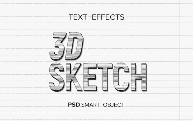 Efekt tekstowy pisanie stylu szkicu 3d