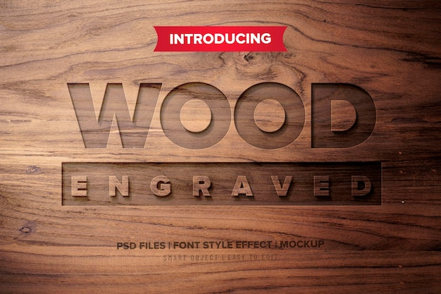 Efekt Tekstowy Premium Z Grawerowanego Drewna Premium Psd