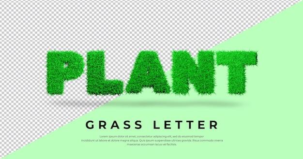 Efekt tekstowy roślin z literą trawy w blenderze na białym tle